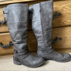 Just Fabulous Grey Henna Buckle Riding Boots